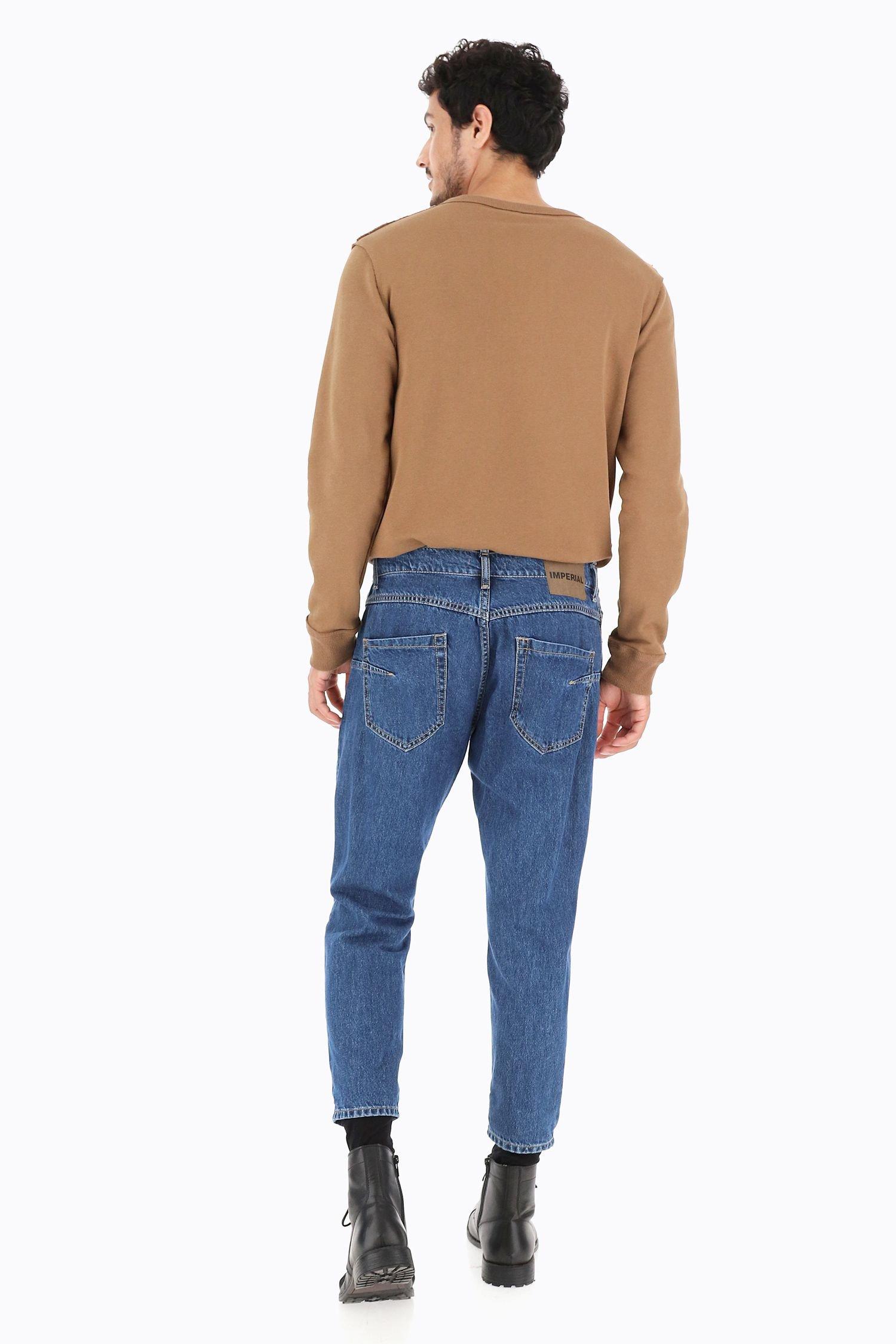 Jeans IMPERIAL Baggy lunghezza alla caviglia senza strappi color Blu Denim